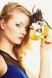 Masquerade. Beautiful girl in carnival mask Royalty Free Stock Photo