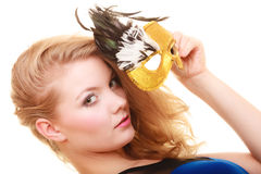 Masquerade. Beautiful girl in carnival mask Royalty Free Stock Photography