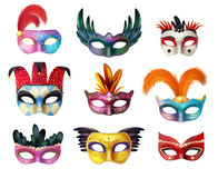 Masquerade Carnival Face Masks Realistic Set. Authentic handmade venetian painted carnival face masks collection for party decoration or masquerade realistic vector illustration
