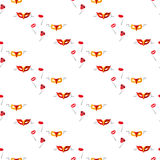 Masquerade carnival masks. Seamless pattern. Vector illustration on a white background Swatch inside Stock Images