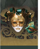 Masquerade Carnival New Year Flier. A stylized flier or poster template with a Masquerade and Carnival New Year theme. Space for text: Above mask for title stock illustration