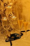 Masquerade, champers & opera. Variation on New Year's celebrations, costume balls, masquerades, historical period pieces and reentactments. Antique opera glasses Stock Images
