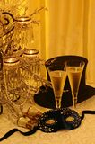 Masquerade, champers & opera. Variation on New Year's celebrations, costume balls, masquerades, historical period pieces and reenactments. Antique opera glasses Stock Photo