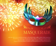 Masquerade Fireworks Display Poster. Masquerade background poster with glossy winged carnival mask festive fireworks and decorative text available for editing Stock Image