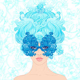 Masquerade: Girl at the carnival on a blue background Royalty Free Stock Photo