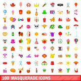 100 masquerade icons set, cartoon style Stock Photography