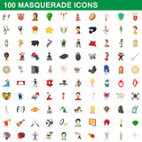 100 masquerade icons set, cartoon style. 100 masquerade icons set in cartoon style for any design vector illustration Stock Illustration