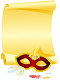 Masquerade Invitation. Blank Masquerade Invitation with Carnival Mask and Feather Royalty Free Stock Photography