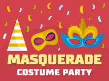 Masquerade logo, flat style. Masquerade logo. Flat illustration of masquerade vector logo for web Royalty Free Illustration
