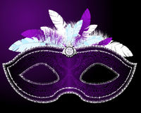 Masquerade Mask. Shiny Masquerade Mask with feather Royalty Free Stock Images