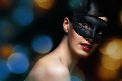 Masquerade mask. Cute girl in masquerade mask Royalty Free Stock Images