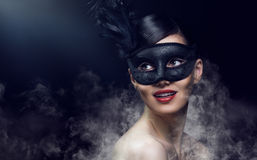 Masquerade mask. Cute girl in masquerade mask Royalty Free Stock Photo