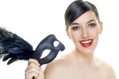 Masquerade mask. Cute girl in masquerade mask Royalty Free Stock Photos