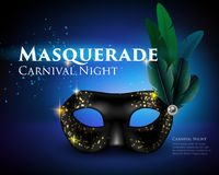 Masquerade Mask Background. Blue glittering background with amazing black venetian carnival mask decorated with feathers realistic vector illustration Royalty Free Stock Images