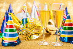 Masquerade Mask and champagne Stock Images