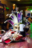 Masquerade mask and champagne. Royalty Free Stock Photo