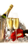 Masquerade Mask and champagne glasses on white Royalty Free Stock Photos