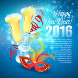 Masquerade mask and champagne. Happy New Year Royalty Free Stock Image