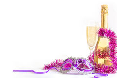 Masquerade mask and champagne . Stock Image