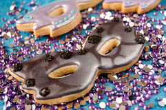 Masquerade Mask Cookies Stock Images