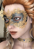 Masquerade Mask. 3D digital render of a beautiful woman with masquerade mask Royalty Free Stock Photography
