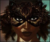 Masquerade mask with feathers. Masquerade mask with brown feathers covering the face of a beautiful woman. Her piercing eyes are accentuated even more through Royalty Free Stock Photography