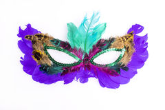 Masquerade Mask. A masquerade mask of feathers, isolated on white Royalty Free Stock Photo