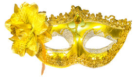 Masquerade mask gold pendants isolated Royalty Free Stock Photography
