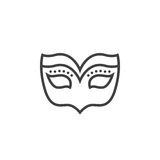 Masquerade mask line icon, outline vector sign, linear pictogram. Isolated on white. logo illustration Stock Images