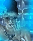 Masquerade mask woman and abstract blue twilight background. A seductive woman in a lace masquerade mask is the ultimate enticement to an evening of mystery Stock Photography