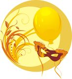 Masquerade mask and yellow balloon. Sticker stock images