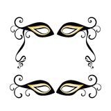 Masquerade masks. One with musical notes on end of ribbon - framing copyspace Stock Photography