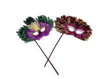 Masquerade masks. A pair of feathered masquerade masks posed on a white background royalty free stock image