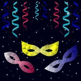 Masquerade masks, colorful streamers, stars, polygon. Masquerade low poly masks with colorful paper polygonal streamers and shining stars. Polygon design for Stock Photos