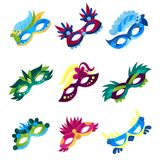 Masquerade masks set, colorful carnival masks with feathers vector Illustrations. On a white background Stock Image
