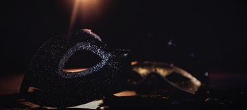 Masquerade masks on stage. Close-up of masquerade masks on stage royalty free stock photography