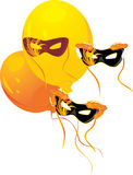 Masquerade masks and yellow balloons Stock Photography