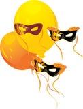 Masquerade masks and yellow balloons stock photography