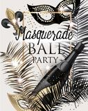 MASQUERADE PARTY INVITATION CARD WITH CARNIVAL DECO OBJECTS . GOLD, WHITE AND BLACK. VECTOR ILLUSTRATION vector illustration