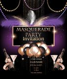 MASQUERADE PARTY INVITATION CARD WITH CARNIVAL PARTY DECO OBJECTS. VECTOR ILLUSTRATION royalty free illustration