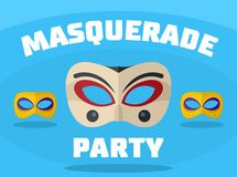 Masquerade party logo, flat style. Masquerade party logo. Flat illustration of masquerade party logo for web Stock Illustration