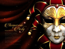 Masquerade party poster. Exquisite carnival mask with golden eye mask and decorative elements isolated on scarlet curtain in 3d illustration Royalty Free Stock Images
