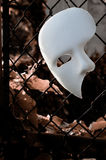 Masquerade - Phantom of the Opera Mask. On Rusty Chainlink Fence Stock Photo