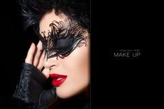 masquerade Ritratto di alta moda di bella donna con il nero Fotografia Stock Libera da Diritti