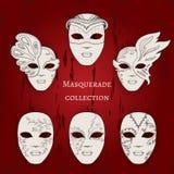 Masquerade. Set of 6 hand drawn masks Stock Photography