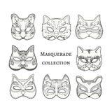 Masquerade. Set of hand drawn masks of cat Stock Photos