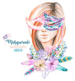 Masquerade theme illustration of female image masked in Venetian style Royalty Free Stock Images