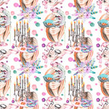 Masquerade theme seamless pattern with female image in a mask, chandeliers with candles and masks in Venetian style Stock Photos