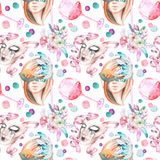 Masquerade theme seamless pattern with female image in a mask, wineglasses and masks in Venetian style. Hand drawn on a white background Stock Photo