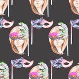 Masquerade theme seamless pattern with female image masked Venetian style Stock Image
